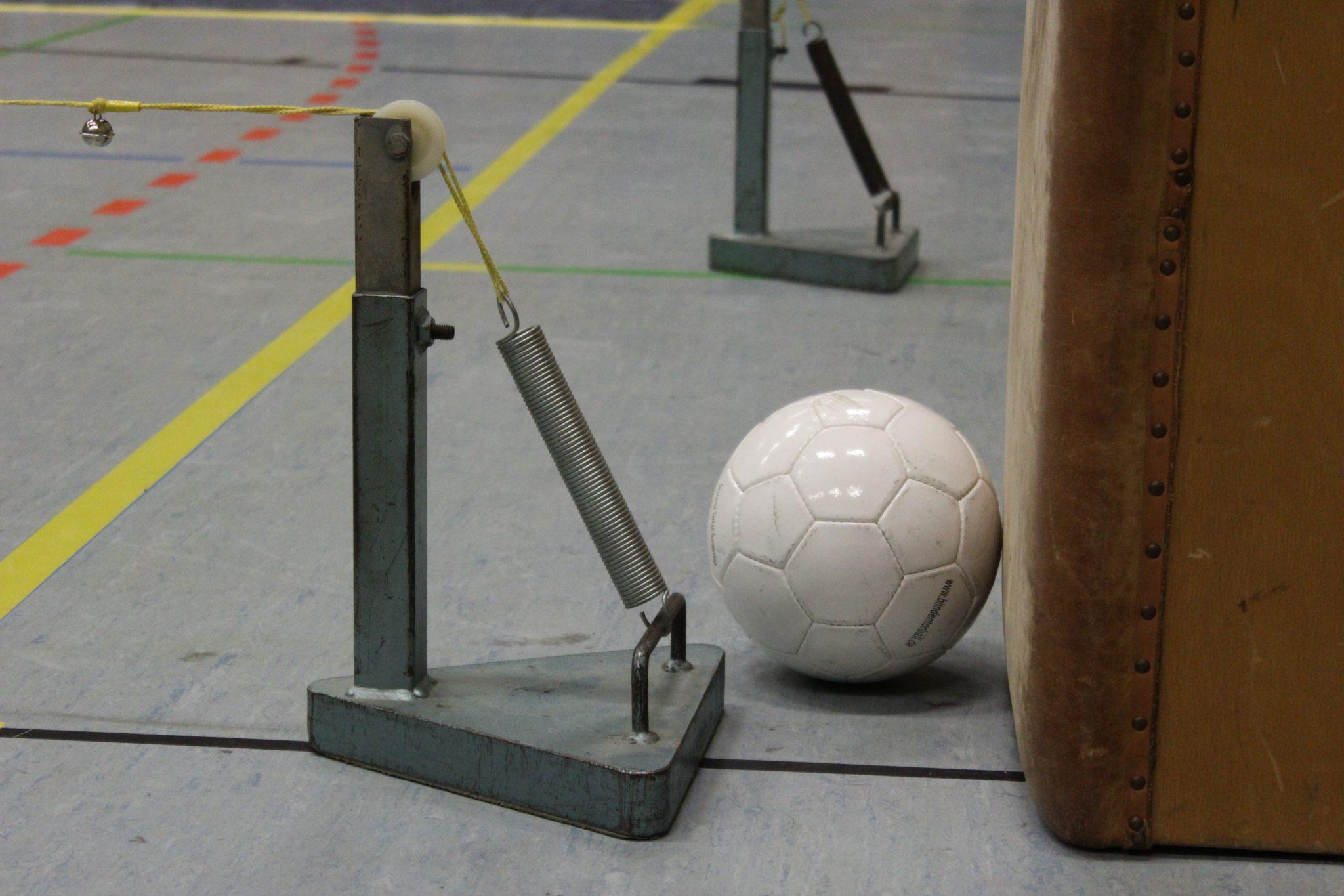 """""""Kollege Torball"""" liegt an der Seitenlinie beim Schiedsrichterpult und nimmt sich eine Auszeit."""