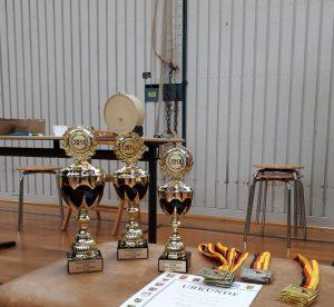 Die drei Siegerpokale, die es beim Turnier zu gewinnen gab.